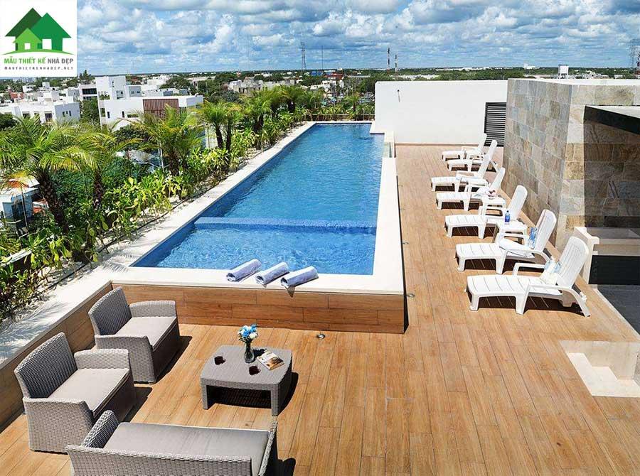 Biệt thự hiện đại có hồ bơi trên sân thượng