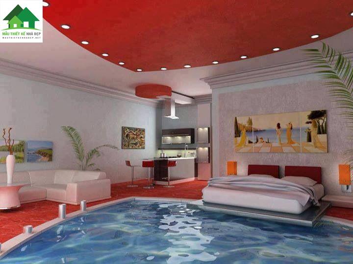 Mẫu thiết kế biệt thự hiện đại có bể bơi trong phòng ngủ