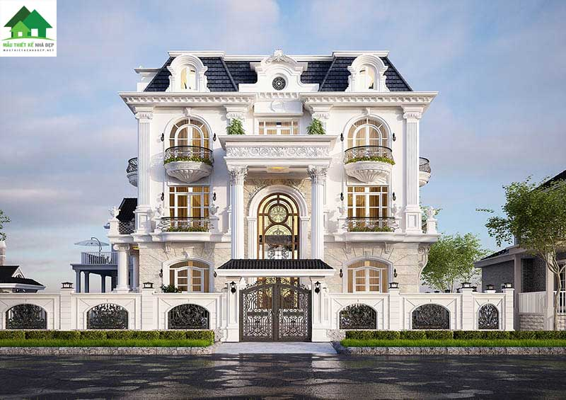 Mẫu thiết kế biệt thự 3 tầng tân cổ điển kiểu Pháp đẹp
