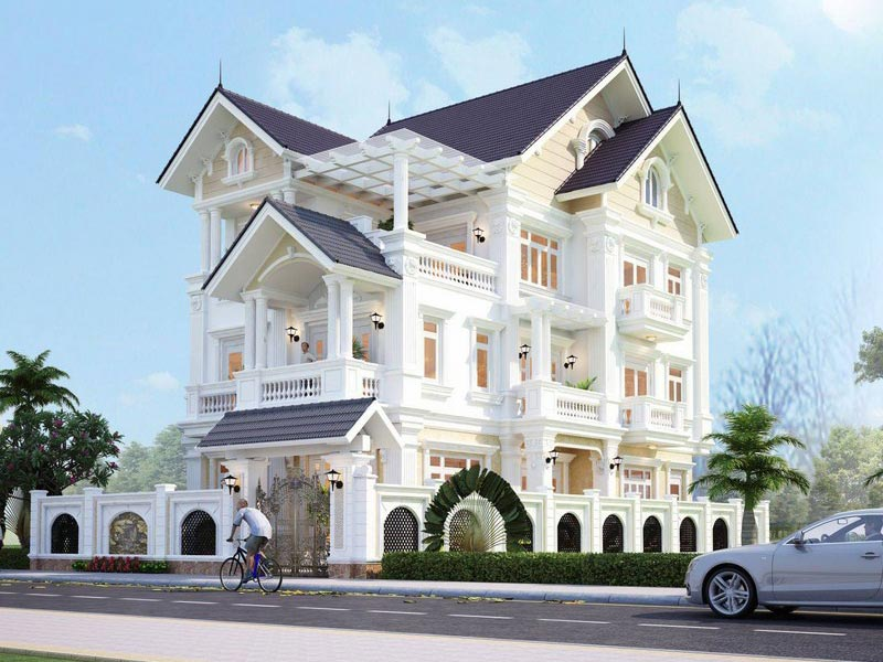 Mẫu thiết kế biệt thự 3 tầng tân cổ điển mái thái đẹp