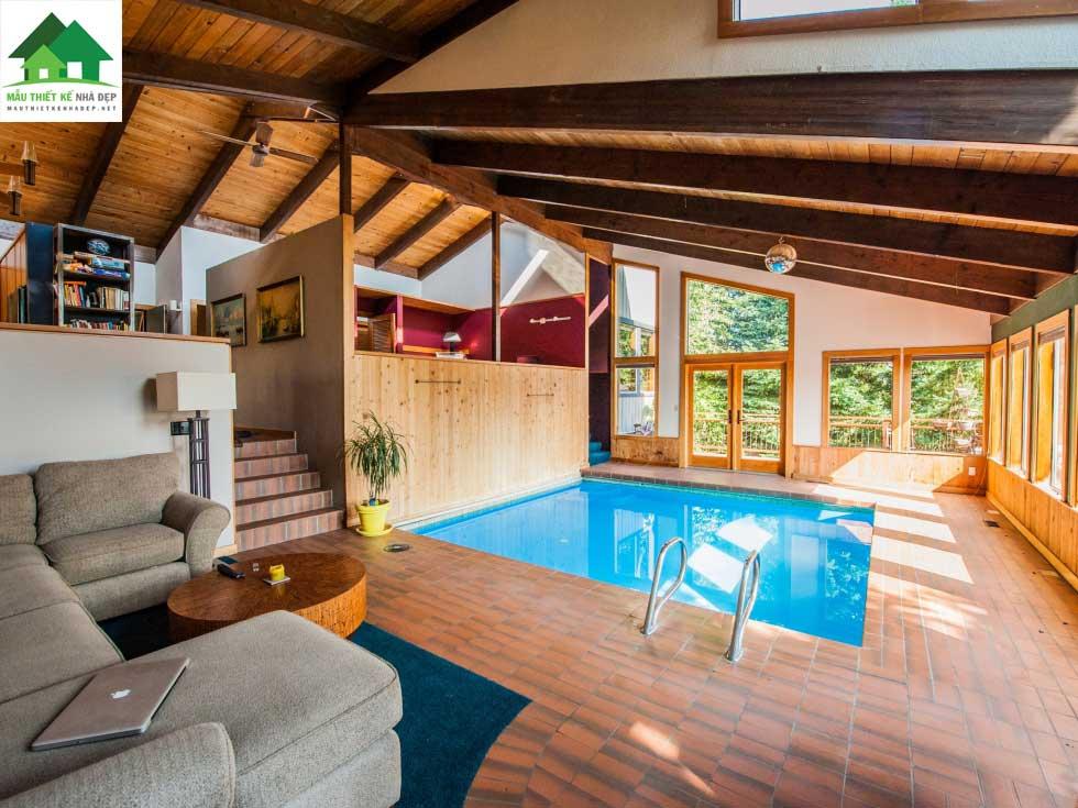 Biệt thự có bể bơi trong nhà hiện đại