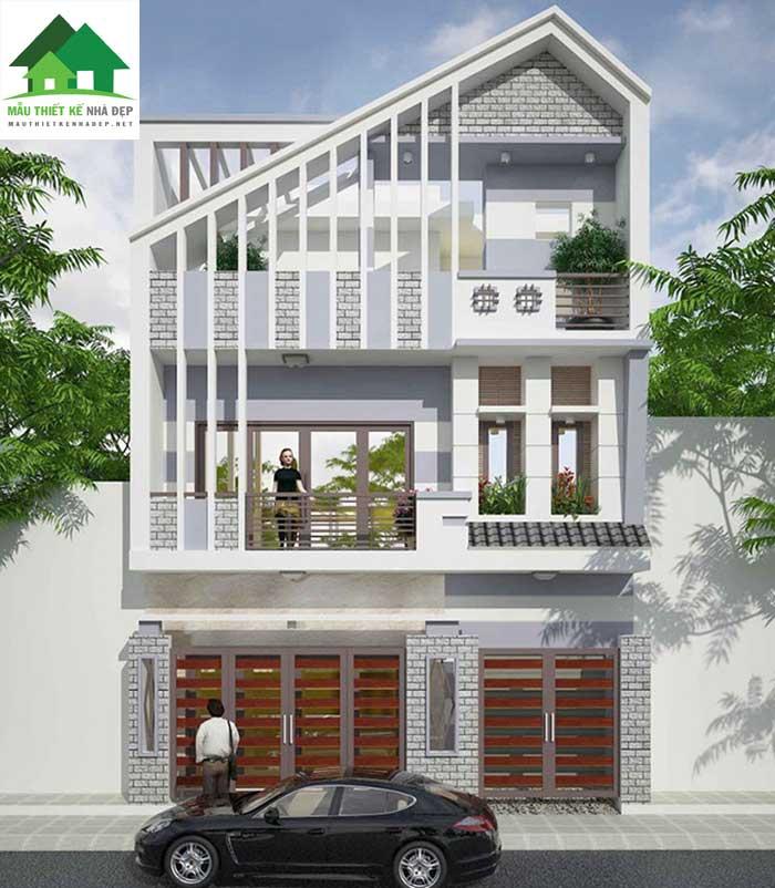 Mẫu thiết kế nhà phố 3 tầng mặt tiền 8m mái xiết