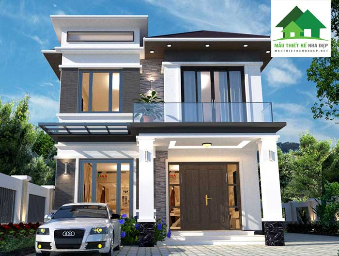 Mẫu thiết kế nhà 2 tầng mặt tiền 8m mái thái