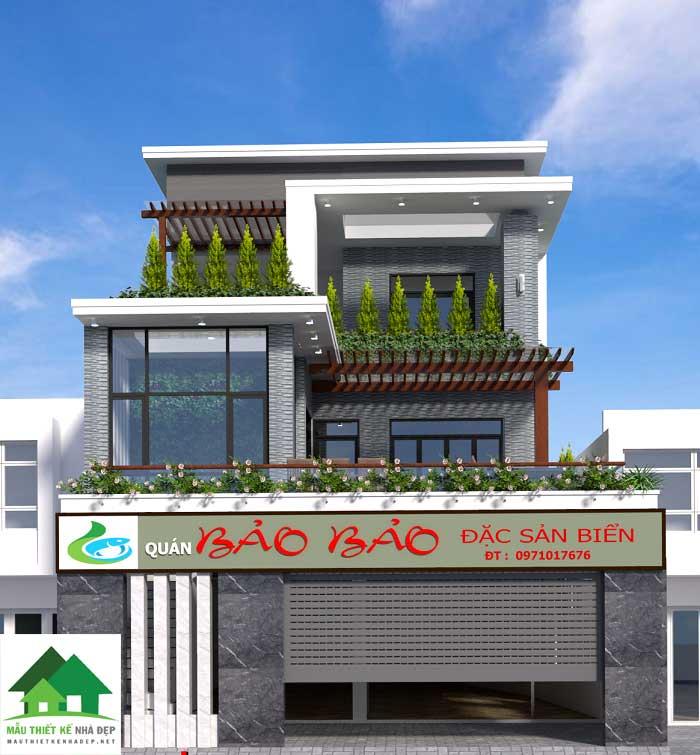 Mẫu nhà phố 3 tầng kế hợp kinh doanh quán hải sản
