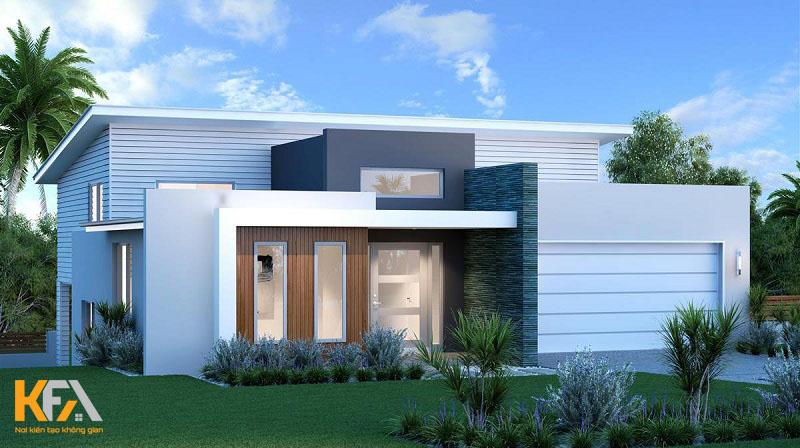 Tông màu trắng kết hợp với hệ thống cửa gỗ đem lại nét cuốn hút, nổi bật cho căn nh